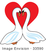 #33590 Clip Art Graphic Of A Pair Of Loving Swans Gazing At Eachother In Front Of A Red Heart