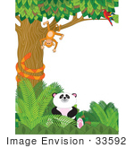 #33592 Clip Art Graphic of a Parrot Watching A Silly Monkey Hanging Upside Down In A Tree, A Snake And A Panda In A Forest by Maria Bell