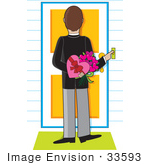 #33593 Clip Art Graphic Of A Man Ringing A Door Bell And Holding A Box Of Chocolates And Flowers On Valentines Day