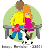 #33594 Clip Art Graphic Of A Cute Child Couple Sitting On A Bench With A Teddy Bear A Dog Sniffing The Valentines Day Chocolates That The Boy Is Holding