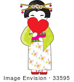 #33595 Clip Art Graphic Of A Cute Geisha Girl In Japan Holding A Heart In Front Of Her Face