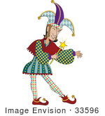 #33596 Clip Art Graphic Of A Jester In A Colorful Uniform And Hat Holding A Magic Wand