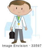 #33597 Clip Art Graphic Of A Doctor Guy Carrying A Medical Bag And Standing In A Hospital