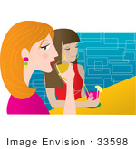 #33598 Clip Art Graphic Of A Couple Of Female Friends Drinking Cocktails In A Night Club