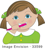 #33599 Clip Art Graphic Of A Cute Brunette Girl With Blue Eyes Brushing Her Teeth With A Pink Brush