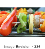 #336 Photograph Of Veggies On Skewers On A Bbq