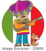 #33600 Clip Art Graphic of a Mexican Man Strumming A Guitar And Singing While A Little Dog Howls by Maria Bell
