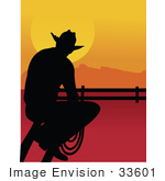 #33601 Clip Art Graphic Of A Lonely Cowboy Silhouetted Against A Sunset Sitting On A Fence And Staring At A Pasture