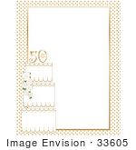 #33605 Clip Art Graphic of a White And Gold 50th Anniversary Cake On A Stationery Border by Maria Bell