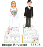 #33606 Clip Art Graphic Of A Young Couple Standing On Top Of Their Wedding Cake Getting Split Apart And Divorcing