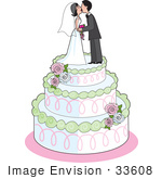 #33608 Clip Art Graphic of a Bride And Groom Smooching On A Wedding Cake by Maria Bell