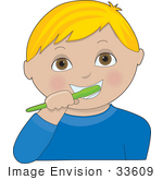 #33609 Clip Art Graphic Of A Blond Boy With Brown Eyes Brushing His Teeth With A Green Brush