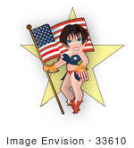 #33610 Clip Art Graphic Of A Dainty Character Lady In American Clothes Holding A Flag And Standing In Front Of A Star
