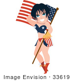 #33619 Clip Art Graphic Of A Dainty Character Lady With Black Hair Wearing Patriotic Clothes And Carrying An American Flag