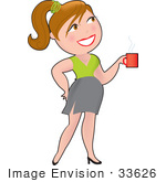 #33626 Clip Art Graphic Of A Dainty Character Lady Businesswoman Carrying Coffee In The Office