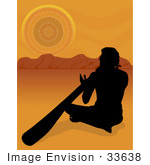 #33638 Clip Art Graphic Of A Silhouetted Aboriginal Man Playing The Didgeridoo At Sunset With An Australian Landscape