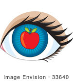 #33640 Clip Art Graphic Of A Blue Eye With A Red Apple In The Center