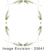#33641 Clip Art Graphic Of A Stationery Border Of Scrolls And Brown Stars Over White