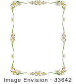 #33642 Clip Art Graphic of a Stationery Border Of White Daisies And Green Scrolls Over White by Maria Bell