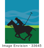 #33645 Clip Art Graphic Of A Polo Player On Horseback Running To Whack A Ball In Silhouette