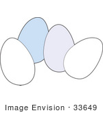 #33649 Clip Art Graphic Of A Group Of Blue And White Chicken Eggs by Maria Bell