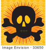 #33650 Clip Art Graphic Of A Silhouetted Jolly Roger Over An Orange Background