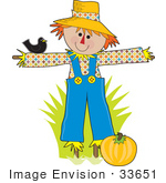 #33651 Clip Art Graphic of a Friendly Scarecrow In A Pumpkin Patch, Chatting With A Black Bird by Maria Bell