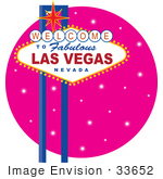 #33652 Clip Art Graphic of a Las Vegas Sign Over A Pink Sparkly Background by Maria Bell