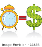 #33653 Clip Art Graphic of a Time Equals Money Concept Showing An Alarm Clock And Dollar Sign by Maria Bell