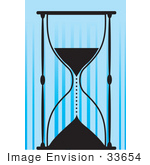#33654 Clip Art Graphic Of A Silhouetted Hourglass With Running Sands Over A Blue Background