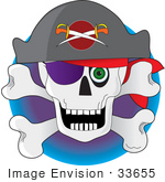 #33655 Clip Art Graphic Of A Green Eyed Jolly Roger Pirate Skull