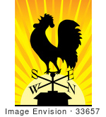 #33657 Clip Art Graphic Of A Silhouetted Rooster Weathervane At Sunrise