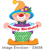 #33658 Clip Art Graphic of a Cute And Colorful Party Clown Holding A Happy Birthday Banner by Maria Bell