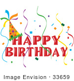 #33659 Clip Art Graphic Of A Happy Birthday Party Banner With A Hat Confetti And Streamers