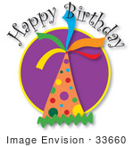 #33660 Clip Art Graphic Of A Happy Birthday Party Hat With Colorful Spots