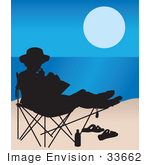 #33662 Clip Art Graphic Of A Silhouetted Person Reading A Book On A Chair On A Beach