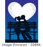 #33664 Clip Art Graphic Of A Bright Heart Shaped Moon Casting Light On A Silhouetted Teen Couple Kissing On A Park Bench