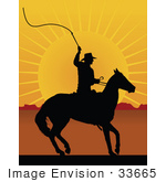 #33665 Clip Art Graphic of a Silhouetted Horseback Cowboy Cracking A Whip At Sunset by Maria Bell