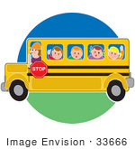 #33666 Clip Art Graphic Of A Bus Driver Taking School Kids To School