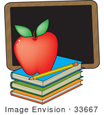 #33667 Clip Art Graphic of a Red Teacher's Apple On A Stack Of Books By A Chalkboard by Maria Bell