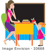 #33668 Clip Art Graphic of a Female Teacher Getting A Red Apple From A Kindergarden Student by Maria Bell