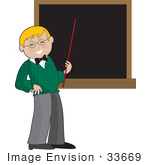#33669 Clip Art Graphic Of A Happy Blond Male Teacher Holding A Pointer Stick To A Chalkboard