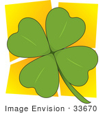 #33670 Clip Art Graphic Of A Four Leaved Green Clover Over A Yellow Background
