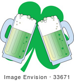 #33671 Clip Art Graphic Of A Green Glover Behind Two Green Mugs Of Beer