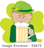 #33672 Clip Art Graphic Of A Green Clover Behind A Leprechaun Drinking Beer