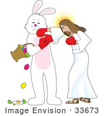 #33673 Clip Art Graphic Of The Easter Bunny Getting Punched By Jesus