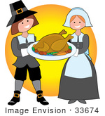 #33674 Clip Art Graphic Of A Generous Pilgrim Couple Serving Cooked Thanksgiving Turkey