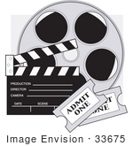#33675 Clip Art Graphic Of A Film Reel Clapboard And Tickets