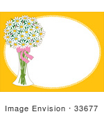 #33677 Clip Art Graphic Of A Glass Vase Of White Daisies With A Bow On A Yellow Oval Frame