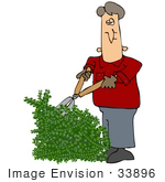#33896 Clip Art Graphic Of A Caucasian Man In A Red Jacket Trimming An Overgrown Hedge In His Yard